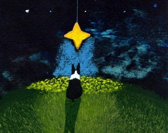 Boston Terrier Dog Art PRINT Todd Young painting Wishing on a Star