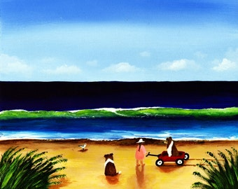 Sheltie Collie Dog Folk Outsider art print by Todd Young A Ride at the Beach
