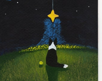 Border Collie Dog folk Art PRINT Todd Young painting Wishing Star
