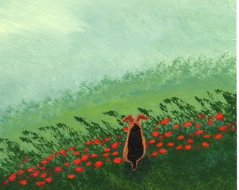 Welsh Terrier Welshie Airedale Dog Art Print WILD POPPIES by Todd Young
