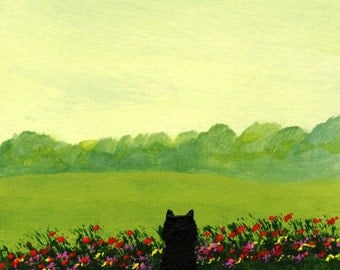 Schipperke SUMMER FLOWERS Reproduction Art PRINT by Todd Young