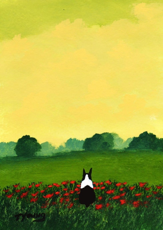 Boston Terrier Dog FRENCH POPPIES Reproduction Art PRINT by Todd Young