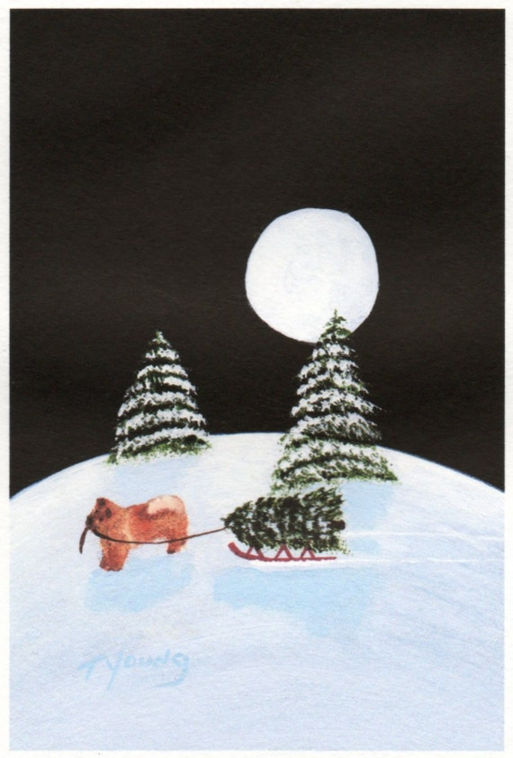 Chow Chow HOLIDAYS limited edition reproduction art print of Todd Young painting