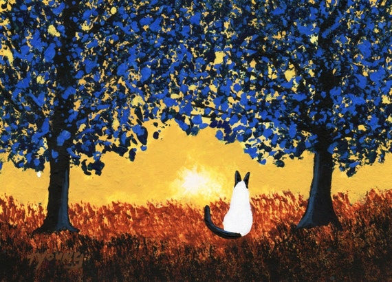 Siamese Cat BLUE TREES art print by Todd Young