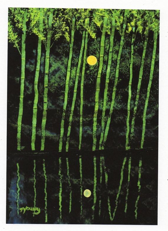 Bamboo folk LARGE art PRINT of Todd Young painting Bamboo Water