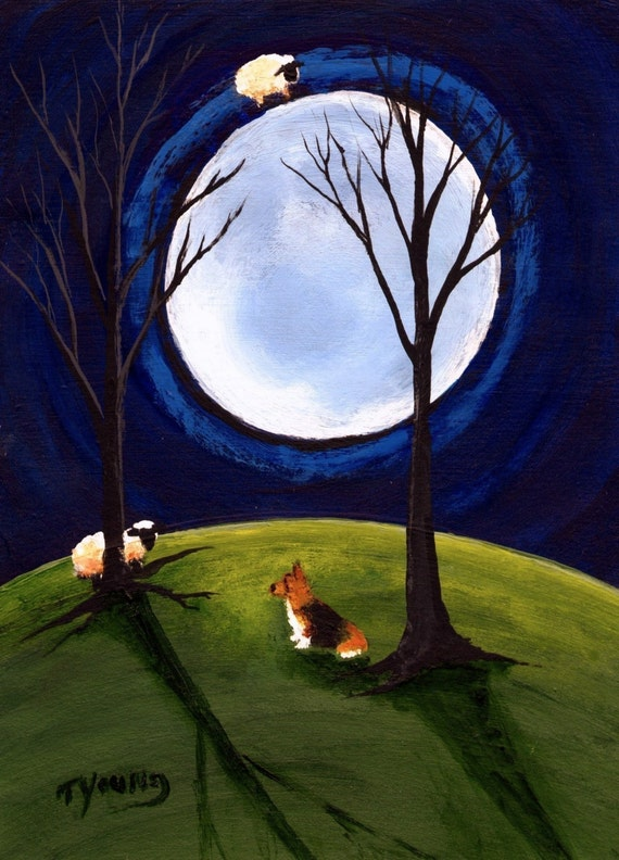 Come Back Welsh Corgi dog art print by Todd Young