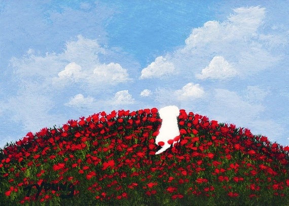 Maltese Dog FIELD OF POPPIES limited edition reproduction art print by Todd Young painting