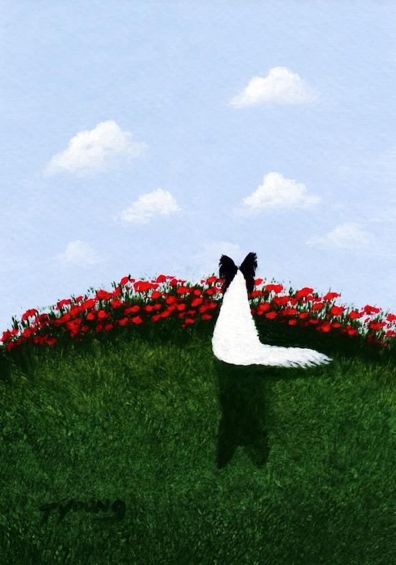 Black Papillon Dog art PRINT Todd Young painting SUMMER SKY