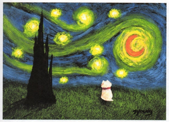 Westie UNDER A STARRY NIGHT reproduction art print by Todd Young