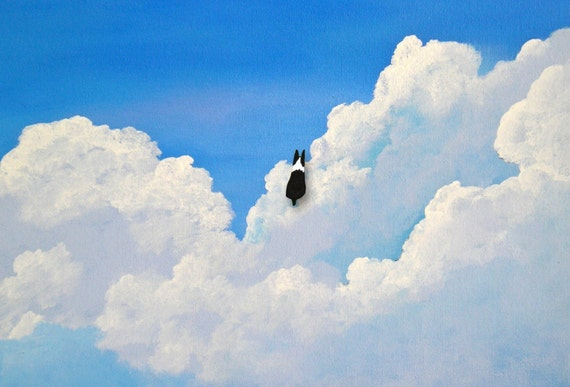 Boston Terrier Dog IN THE CLOUDS limited edition reproduction art print of Todd Young painting