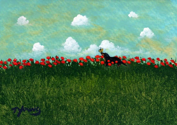 Dachshund Dog Art PRINT Todd Young painting Butterfly