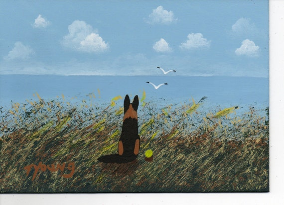 German Shepherd Dog Large Folk Art Print by Todd Young Sea Oats