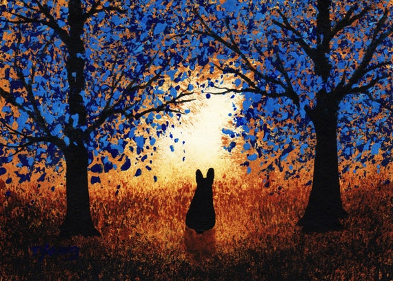 Black French Bulldog Dog Art PRINT Todd Young painting BLUE FOREST