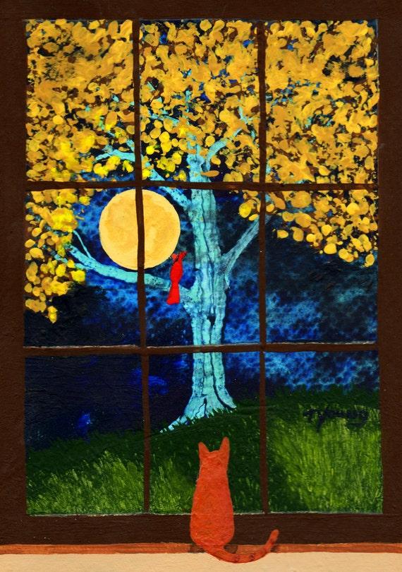 Orange Tabby Cat Modern FOlk art PRINT of Todd Young GAZING