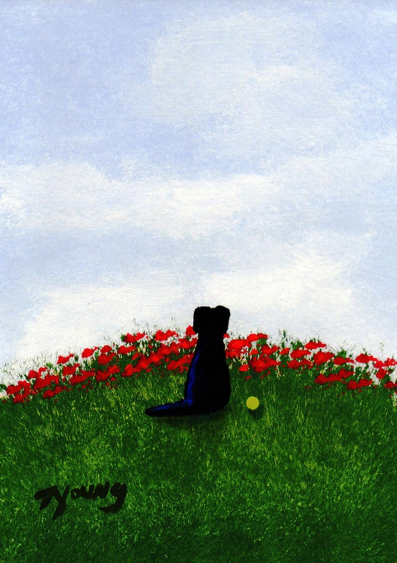 Black Lab dog Folk Art PRINT by Todd Young painting Summer Sky