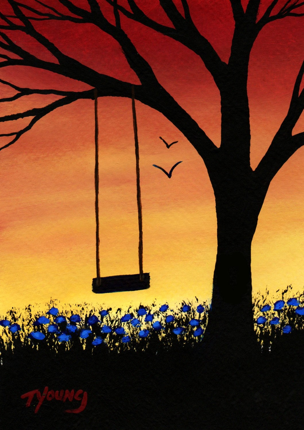 Tree Swing Modern Folk Art Print of Todd Young painting Last