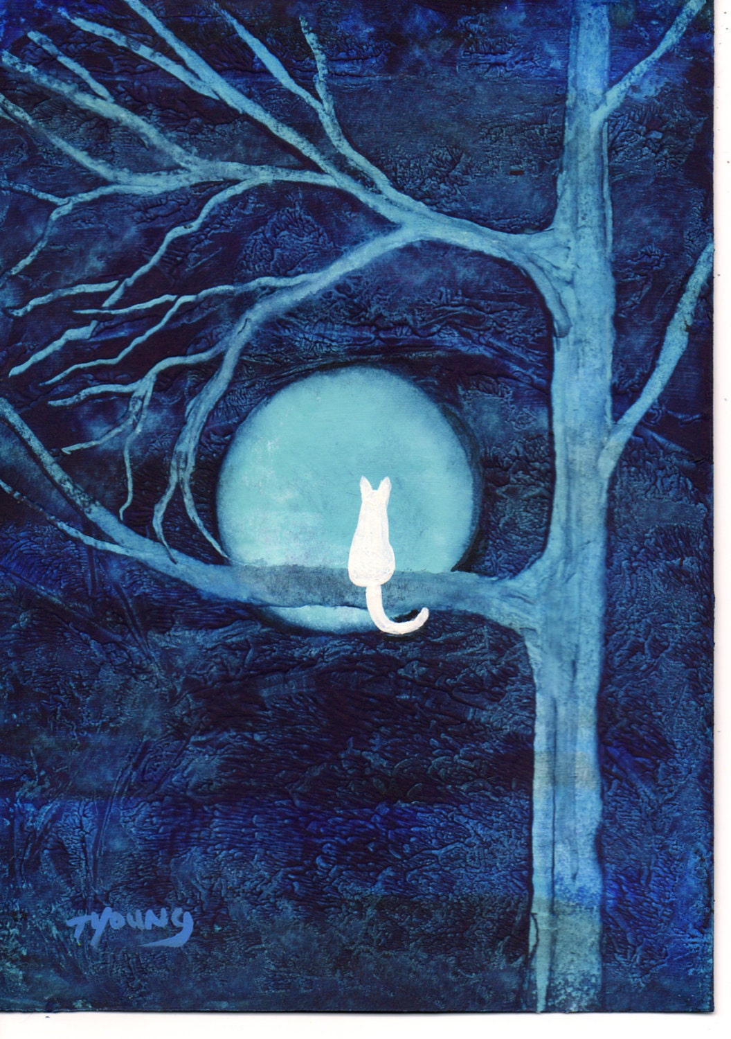 White Cat abstract Folk art PRINT of Todd Young painting BLUE