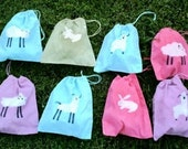 CHAMBRAY BLUE batik SHEEP mini 8x10 drawstring bag great for spinners knitters gifts FREE SHIPPING