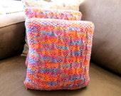 knit hourglass pillow (pink/orange/blue)