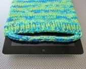 knit iPad cozy (lime green/turquoise/yellow)
