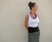 fiona circle scarf (red & white stripes with red crochet trim)