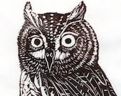 Screech Owl Linocut