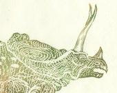 Big Head Torosaurus linocut - Lino Block Print of Dinosaur, Torosaurus, Triceratops, on Japanese Paper