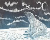 Polar Bear and Aurora Linocut - Handprinted Arctic Scene with Northern Lights and Polar Bear Print