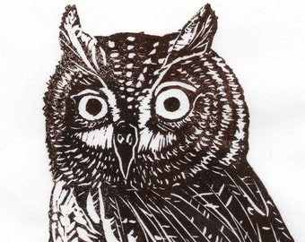 Screech Owl Linocut - Lino Block Print of Brown Screech Owl on Japanese Paper