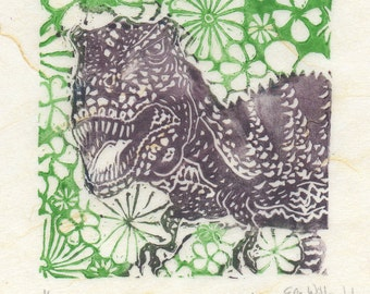 T. Rex with Flowers Mini Linocut, Small Lino Block Print on Japanese Paper of Tyrannosaurus Rex Dinosaur with Flowers
