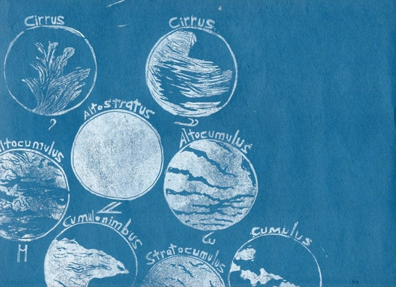 Cloud Classification - 2nd edition linocut