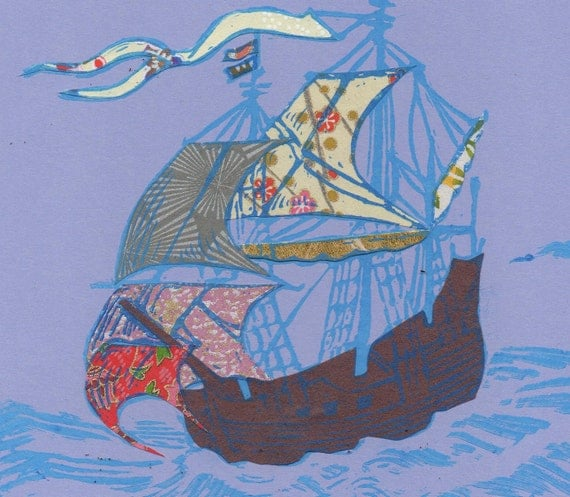 Sailing Ship III - Block Print with Mixed Papers - Lino Block Print Historic Sailing Ship, Exploration, Collaged Japanese Papers