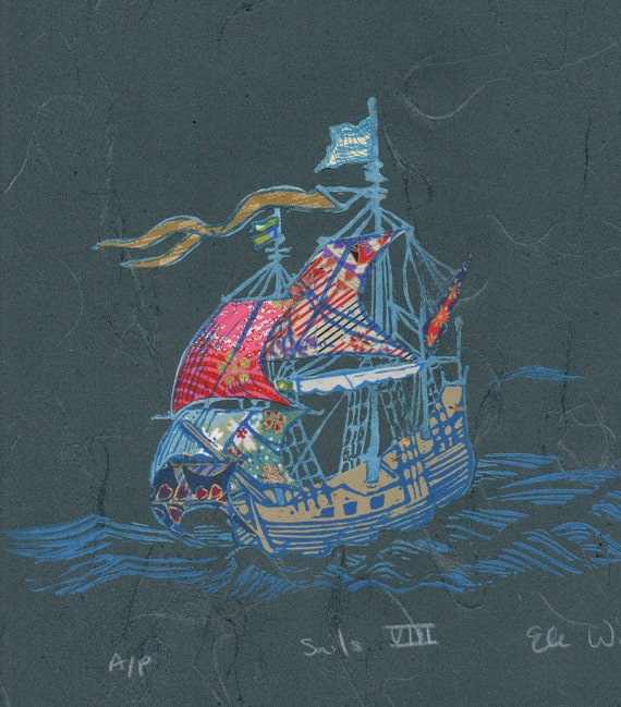 Sailing Ship VIII - Block Print with Mixed Papers
