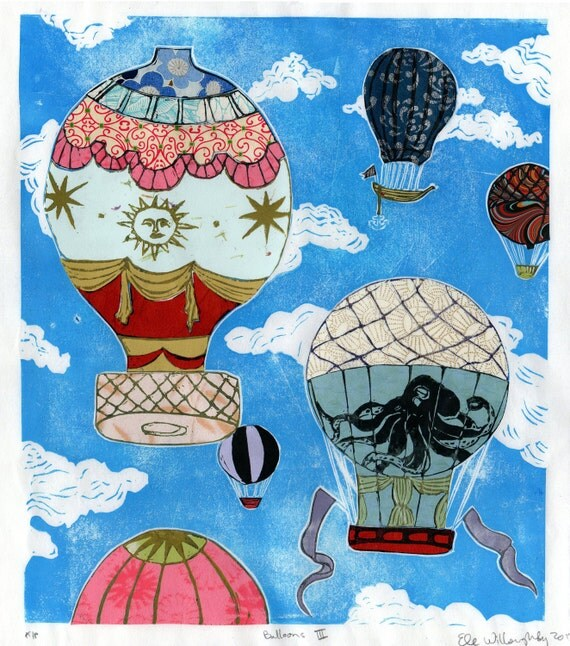 Hot Air Balloons III- Multimedia - Linocut Vintage Hot Air Balloons on Cloudy Sky with Collaged Japanese Papers & Ephemera, Art Print