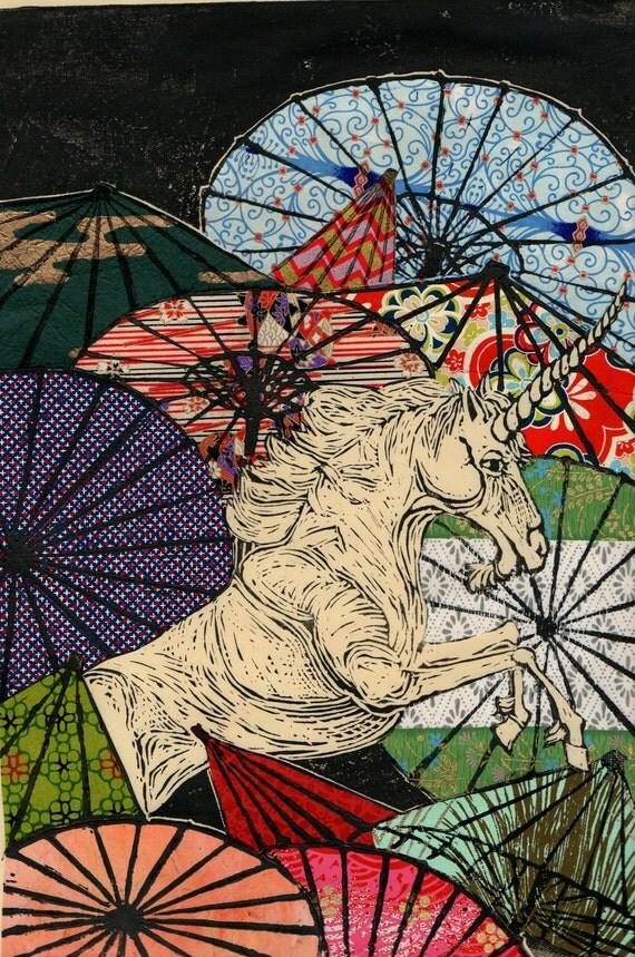 Unicorn Amongst Umbrellas XI- Multimedia
