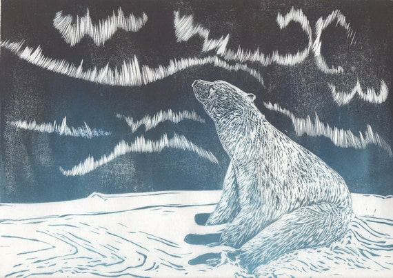 Polar Bear and Aurora Linocut - Handprinted Arctic Scene with Northern Lights and Polar Bear Print