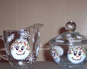 Snowman Face Glass Sugar & Creamer bowl set Hand Painted