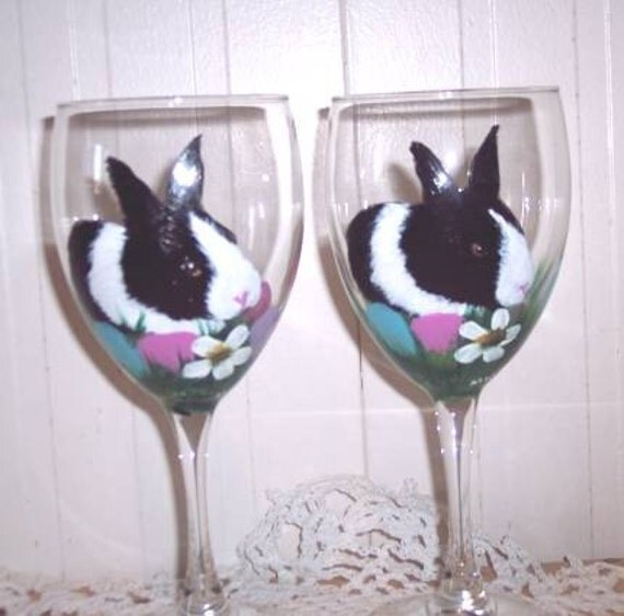 items similar to hand painted easter bunny wine glasses set of 2 on etsy. Black Bedroom Furniture Sets. Home Design Ideas