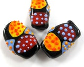 Handmade Lampwork bead glass focal - Lampwork beads set - Squeezed Sabres Beads (3) SRA