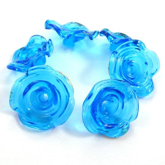 Sale - lampwork beads set - Lampwork beads - Golden Turquoise - Fairy skirt Bells - 22k gold leaf (6) SRA