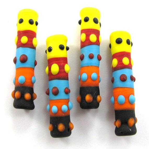 Lampwork beads, Handmade lampwork bead  glass, Lampwork beads, Lampwork beads set, Sunny day Totem Beads (4) SRA