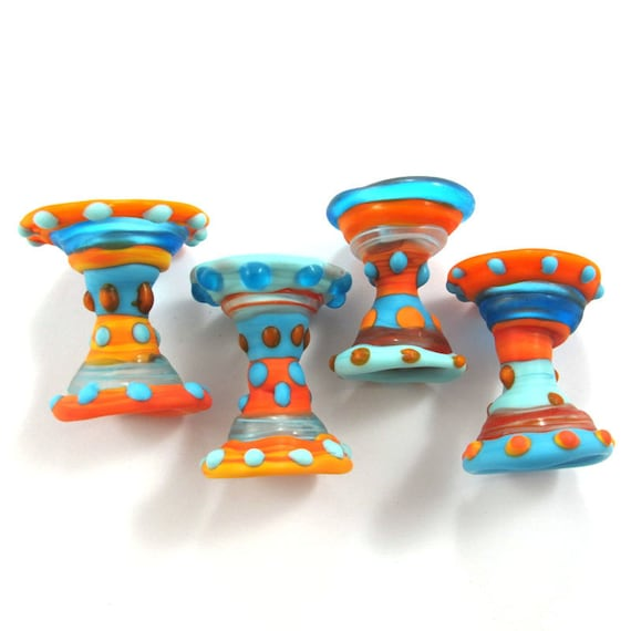 Handmade Lampwork bead glass - Lampwork beads set - Ethnic dresses Beads (4) SRA