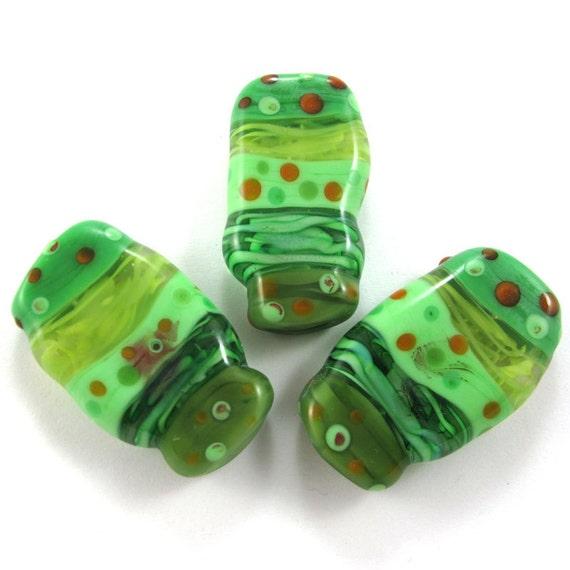 Handmade Lampwork bead glass focal - Lampwork beads set - Squeezed dots Beads (3) SRA