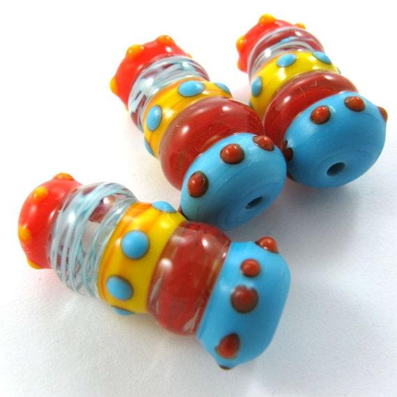 Lampwork beads, Handmade lampwork bead  glass, Lampwork beads, Lampwork beads set, Caterpillar Beads (3) SRA