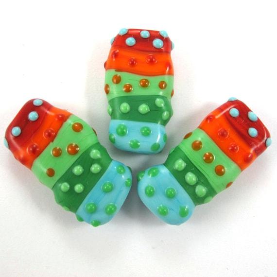 Handmade Lampwork bead glass focal - Lampwork beads set - Squeezed Caterpillar Bubbles Beads (3) SRA
