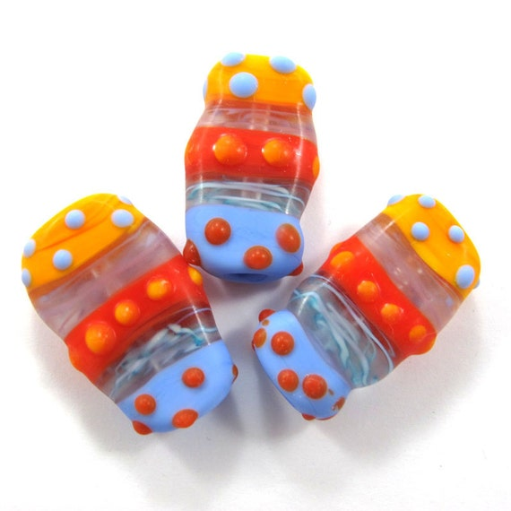 Sale - Handmade Lampwork bead glass focal - Lampwork beads set - Squeezed Caterpillar Bubbles Beads (3) SRA