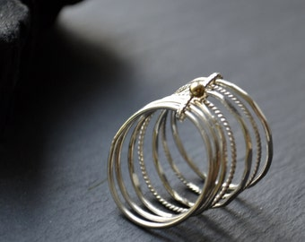 Weekly . 14k solid gold and silver ring . stacking bands . semainier