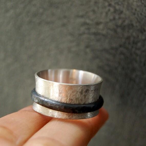 Inger Spinner silver ring, wedding band