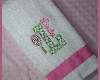 Tennis Towel Personalized with Racket and Initial Hot Pink and Lime Green