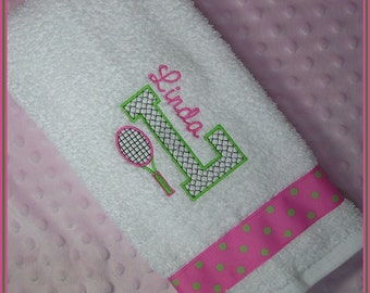 Personalized Tennis Racket Sweat Towel with Racket and Initial